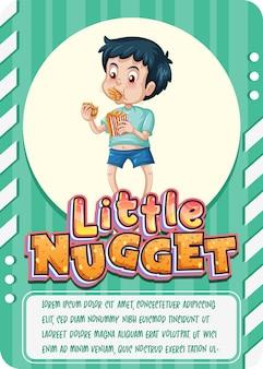 Plantilla de tarjeta de juego de personajes con palabra little nugget