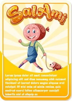 Plantilla de tarjeta de juego de personajes con palabra salami