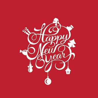 Plantilla de tarjeta de letras caligráficas de texto de feliz año nuevo
