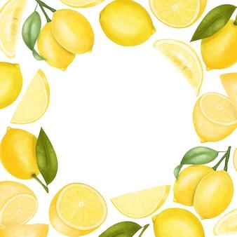 Plantilla de tarjeta de limones dibujados a mano, ilustración, marco redondo
