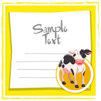 Plantilla de tarjeta con linda vaca