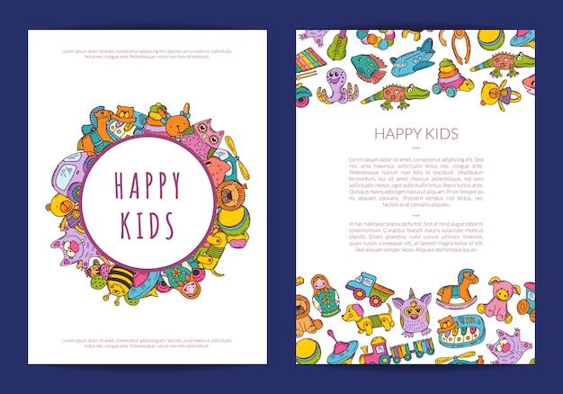 Plantilla de tarjeta con lugar para texto y juguetes de los niños dibujados a mano
