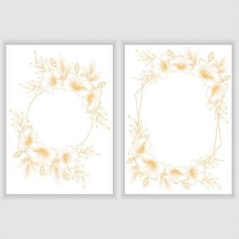 Plantilla de tarjeta con marco floral de hibisco dorado