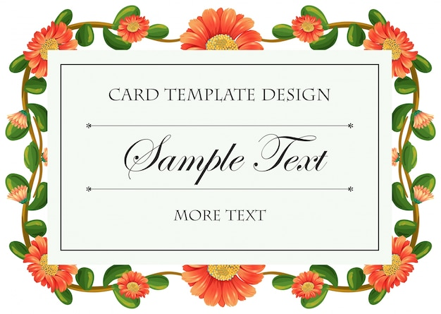 Plantilla de tarjeta con marco de flores de calendula