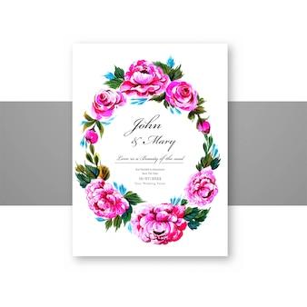 Plantilla de tarjeta de marco de flores decorativas de invitación de boda