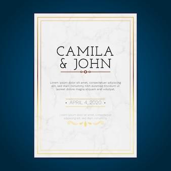 Plantilla de tarjeta de mármol de boda lujosa