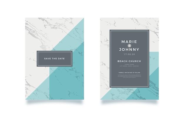 Plantilla de tarjeta de mármol de boda