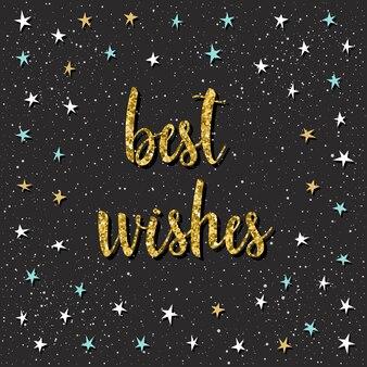 Plantilla de tarjeta de mejores deseos. letras de estrellas y citas de apliques angulares infantiles hechos a mano aisladas en negro para tarjetas de diseño, invitaciones, papel tapiz, álbumes, álbumes de recortes, camisetas, etc. textura dorada