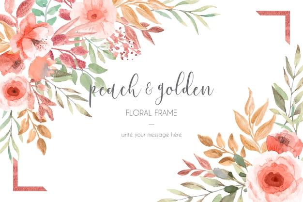 Plantilla de tarjeta con melocotón y flores doradas y hojas