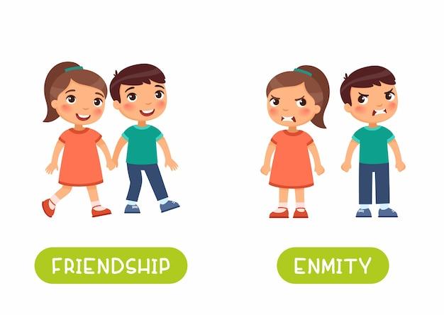 Plantilla de tarjeta de memoria flash de antónimos de amistad y enemistad. tarjeta de word para el aprendizaje del idioma inglés con caracteres planos. concepto de opuestos.