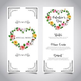Plantilla de tarjeta de menú de acuarela de san valentín