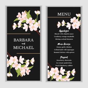 Plantilla de tarjeta de menú floral con decoración de flor de cerezo