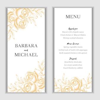 Plantilla de tarjeta de menú floral dorado