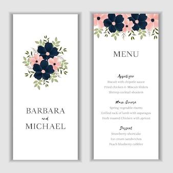 Plantilla de tarjeta de menú floral hermoso