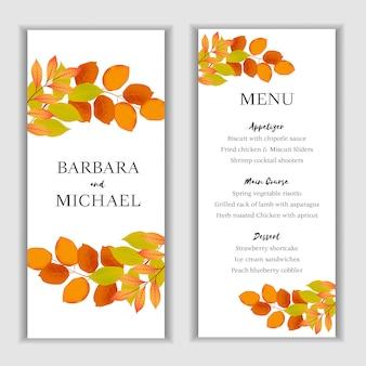 Plantilla de tarjeta de menú floral otoño