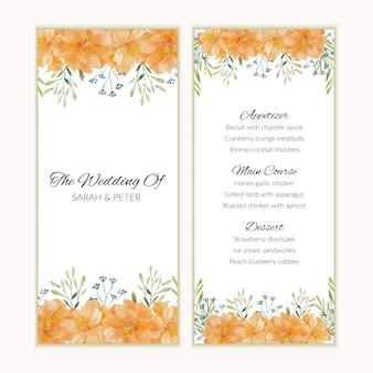 Plantilla de tarjeta de menú con marco de acuarela flor dorada