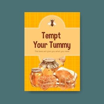 Plantilla de tarjeta con miel