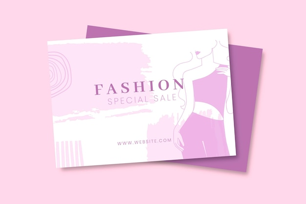 Plantilla de tarjeta de moda monocolor doodle