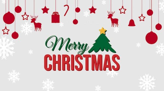 Plantilla de tarjeta de navidad con adornos rojos