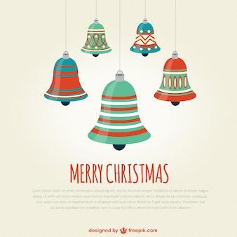 Plantilla de tarjeta de navidad con campanas