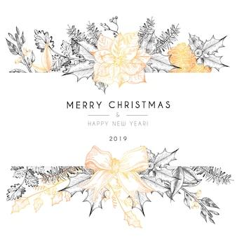 Plantilla de tarjeta de navidad con naturaleza vintage