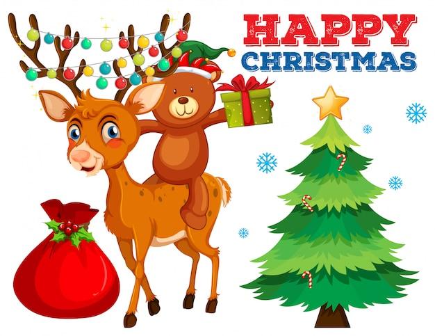 Plantilla de tarjeta de navidad con oso y reno