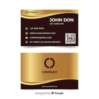 Plantilla de tarjeta de negocio dorada