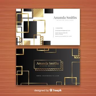 Plantilla de tarjeta de negocios dorada