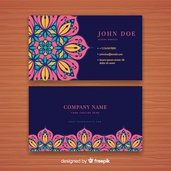 Plantilla de tarjeta de negocios con mandala