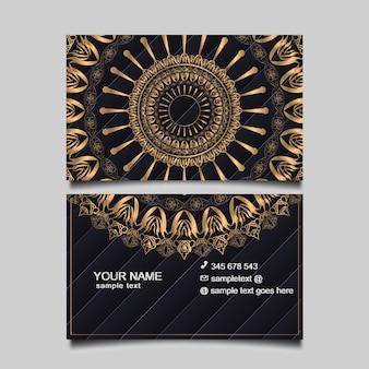 Plantilla de tarjeta de negocios de oro de lujo