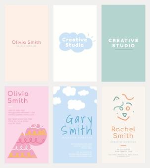 Plantilla de tarjeta de nombre editable en patrones de colores pastel suaves