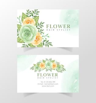 Plantilla de tarjeta de nombre hermosa flor acuarela