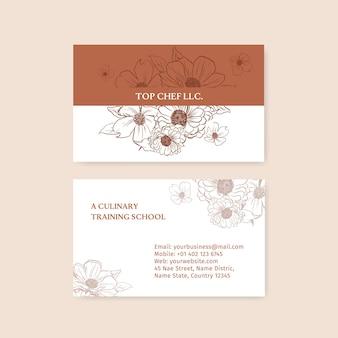 Plantilla de tarjeta de nombre con ilustración de acuarela de diseño de concepto de arte de línea de primavera