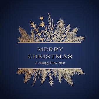 Plantilla de tarjeta o etiqueta botánica de saludos navideños con banner de marco y tipografía moderna. dibujado a mano ramas de abeto o pino y hojas de flores. diseño de saludo de vacaciones de lámina dorada. aislado