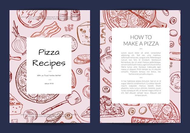 Plantilla de tarjeta o folleto para pizzería o clases de cocina.