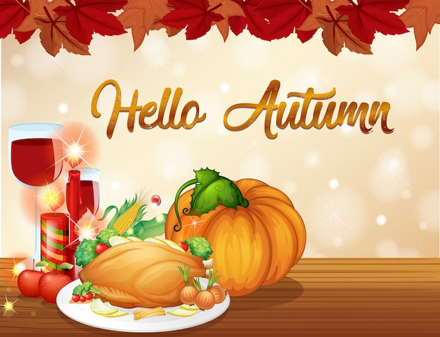 Plantilla de tarjeta de otoño de acción de gracias