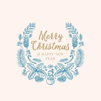 Plantilla de tarjeta, pancarta o corona de dibujo de saludos de navidad dibujados a mano.