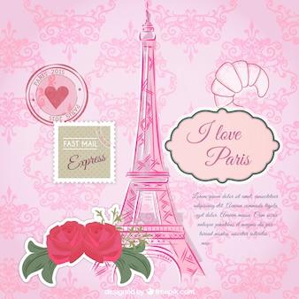 Plantilla de tarjeta de parís rosa
