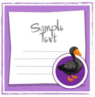 Plantilla de tarjeta con pato negro