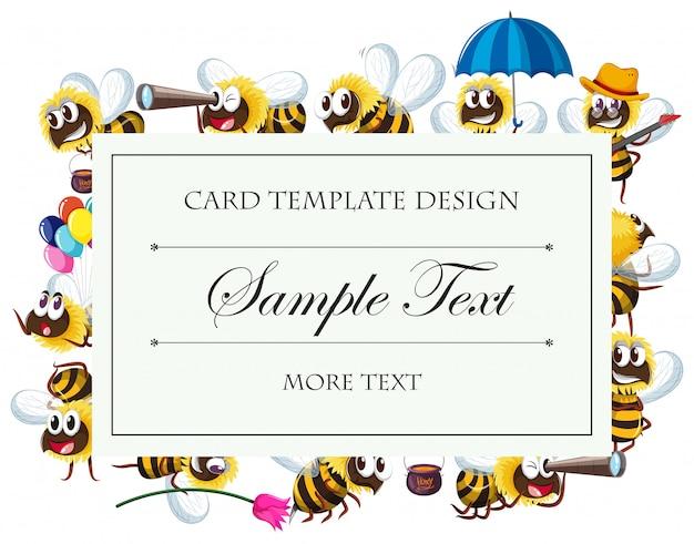 Plantilla de tarjeta con personajes de abeja