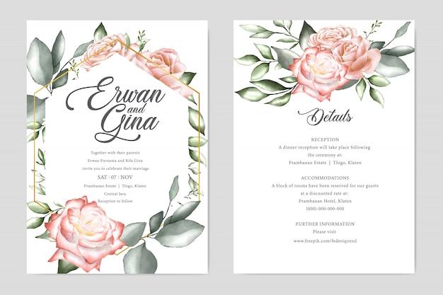 Plantilla de tarjeta de plantilla de invitación de boda acuarela
