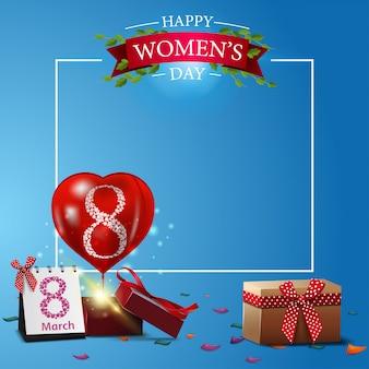 Plantilla de tarjeta postal azul moderna para el día de la mujer.