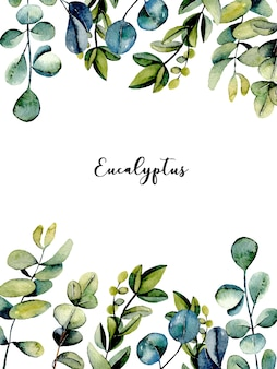 Plantilla de tarjeta postal con ramas de eucalipto.
