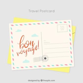 Plantilla de tarjeta postal de viaje en estilo hecho a mano