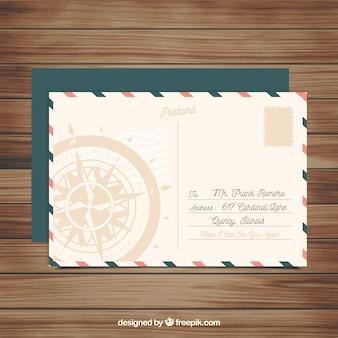 Plantilla de tarjeta postal de viaje en estilo vintage