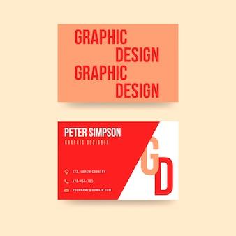 Plantilla de tarjeta de presentación de diseñador gráfico rojo creativo