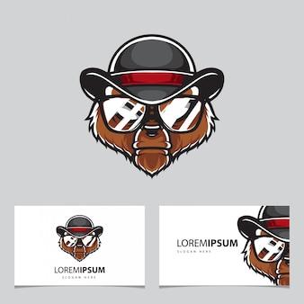 Plantilla de la tarjeta de presentación del logotipo de grizzly police head
