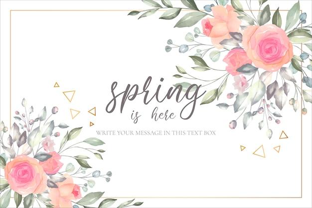 Plantilla de tarjeta de primavera romántica