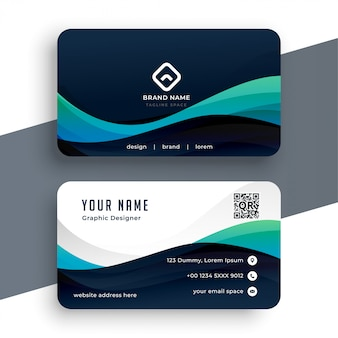 Plantilla de tarjeta profesional azul abstracta