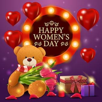Plantilla de tarjeta púrpura de felicitación del día de la mujer